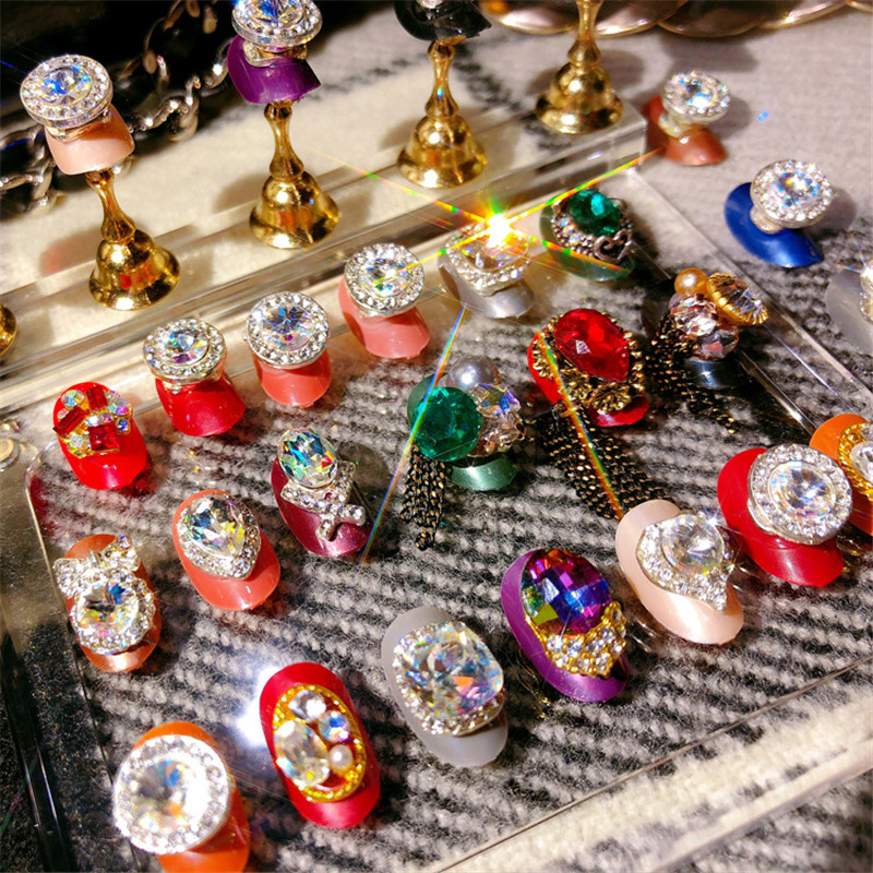high quality fashion charm shiny jewelry transfer beads embellishment decoration fake nail patch DIY nail art