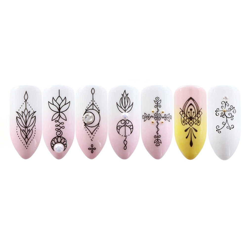 8 SheetsFlower Nail Stickers Simple Flower Transfer Decal Tatoos Manicure Nail Art Decor Wraps