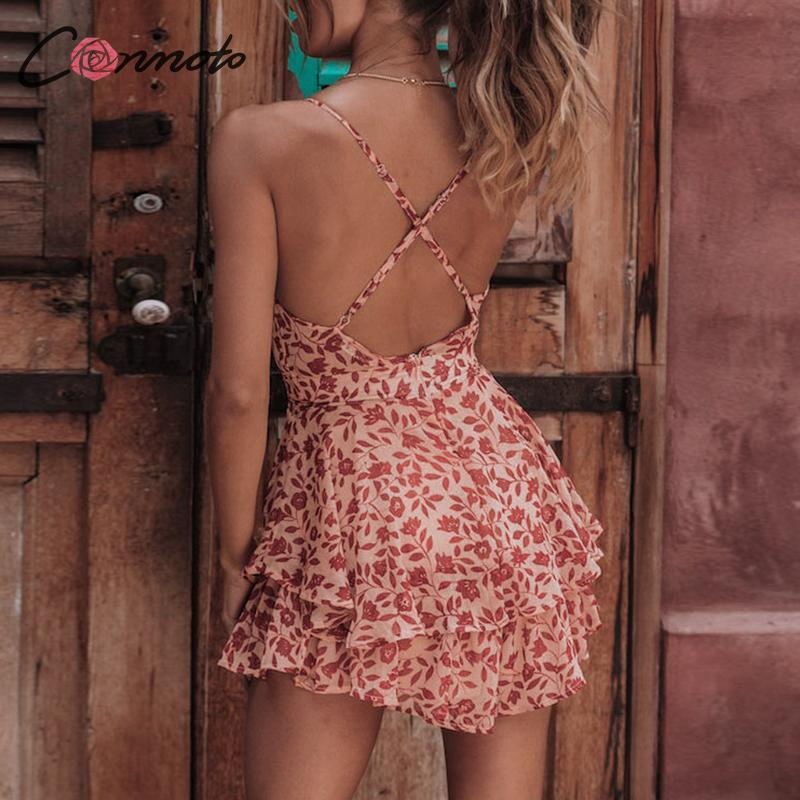 Conmoto Chiffon Floral Beach Spaghetti Strap Women Backless Sexy Short Jumpsuits Rompers Summer 2019 Rompers Y19051601