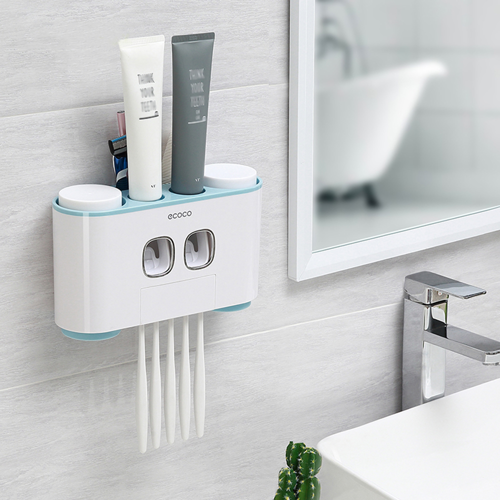 Ecoco Wall-mount Holder Auto Squeezing Dispenser Toothbrush Toothpaste Cup Storage Bathroom Accessories Q190606