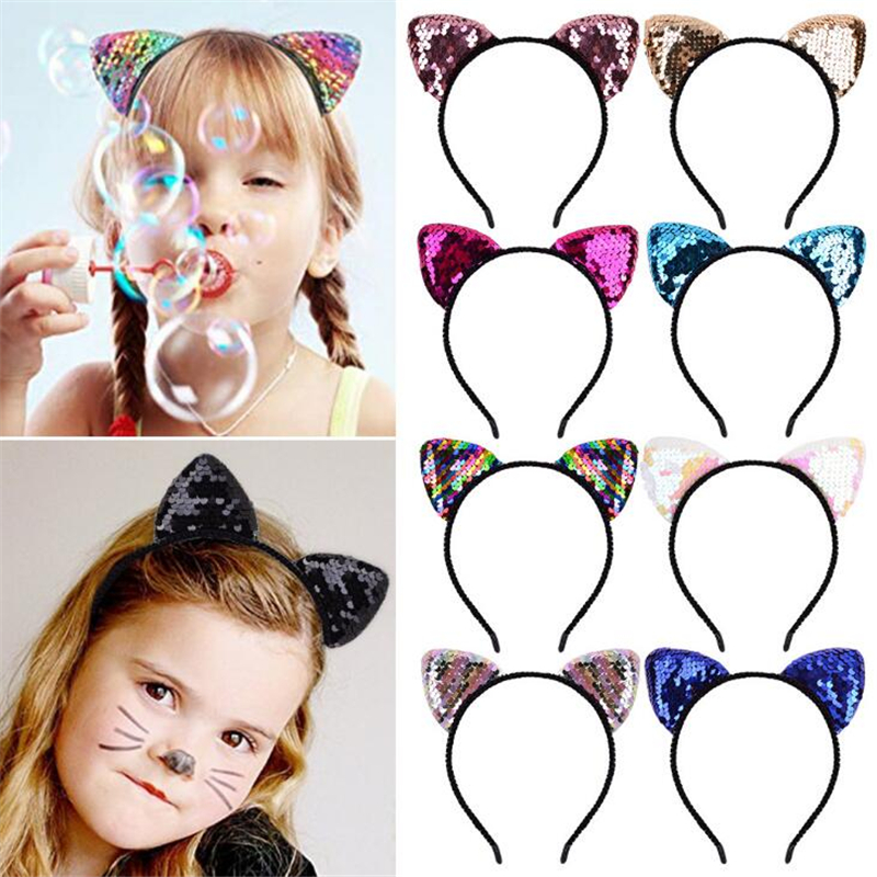 Cute Kids Girls Glitter Cat Ear Sequins Hairband Headband Hair Hoop Accessories