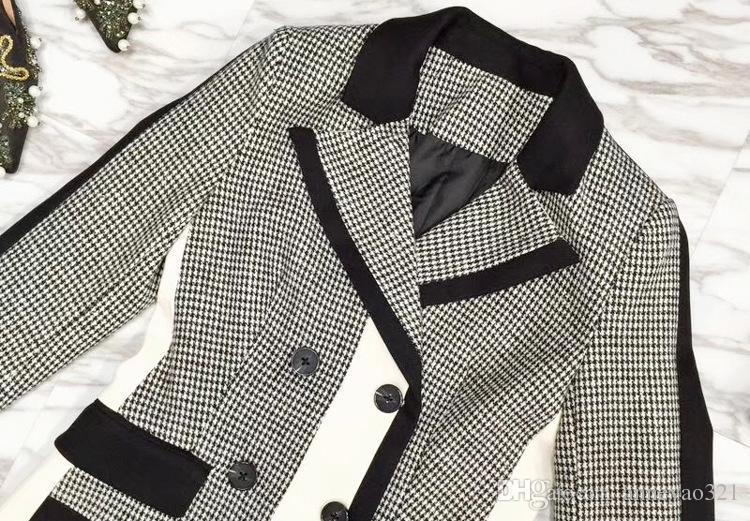 2019 Designer Women's Long Coat Black White Plaid Panelled Milan Runway Gray Lapel Neck Long Sleeve Woolen cloth Coats Women 12307