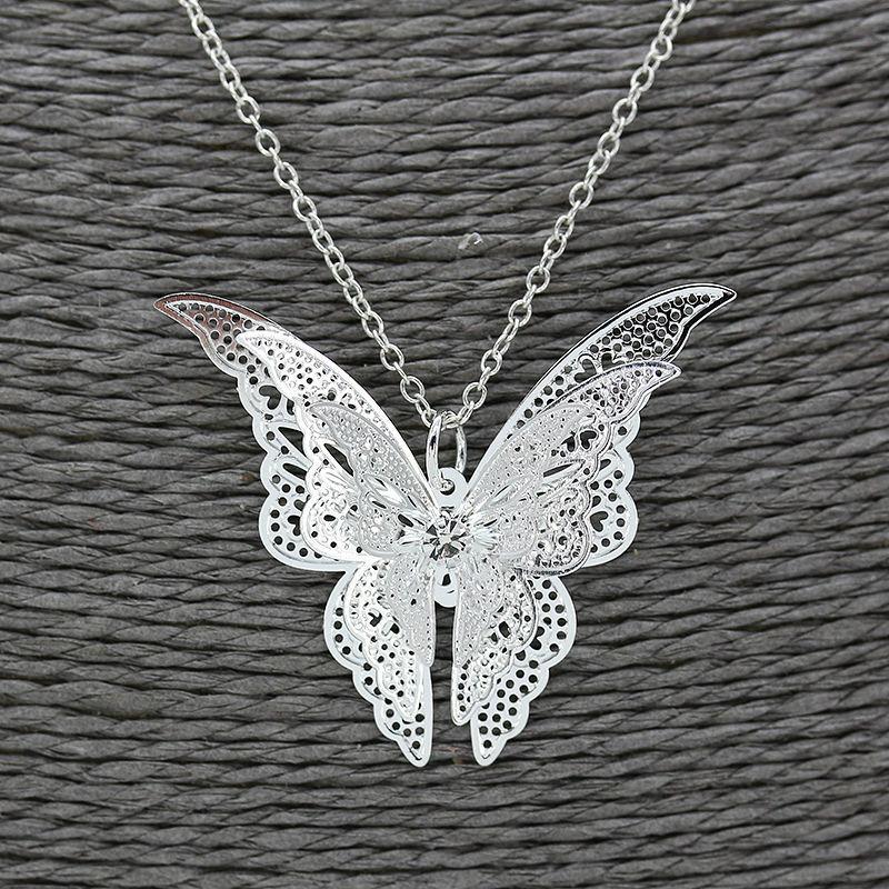 Plaqué Argent aile de papillon Colliers Longue Chaîne Pull Pendentifs Colliers 925