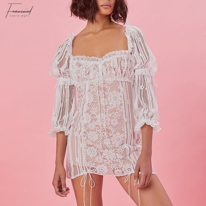 Patchwork merletto sexy Piazza vestito delle donne Collare vita alta Puff Sleeve Hollow Out Bende Mini Abiti Donna 2019 Nuovo