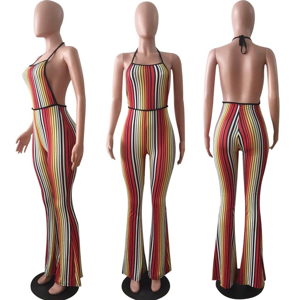Sexy Women Jumpsuit Colorful Stripes Halter Backless Flared Pants Slim Playsuit Rompers Orange Combinaison Femme 2018 Clubwear