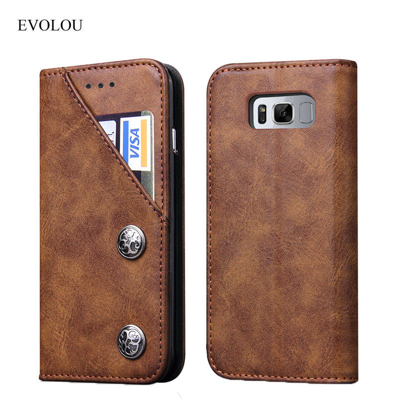 EVOLOU Retro Flip Wallet Phone Case for Samsung Galaxy S8 S8 Plus Genuine Leather Case for Galaxy S8 S8+ Phone Bag Card Holder