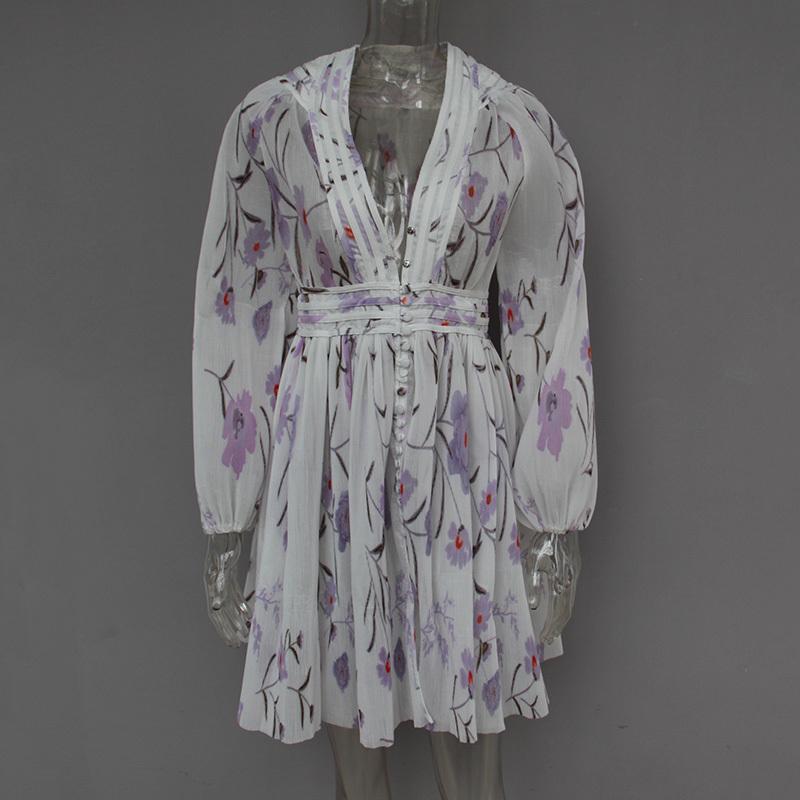 Twotwinstyle Imprimé V-Section Section Haute Tunique Laters Longarm Mini Robes Femmes 2019 Printemps Fin De Mode De Mode Nouveau Y19070901