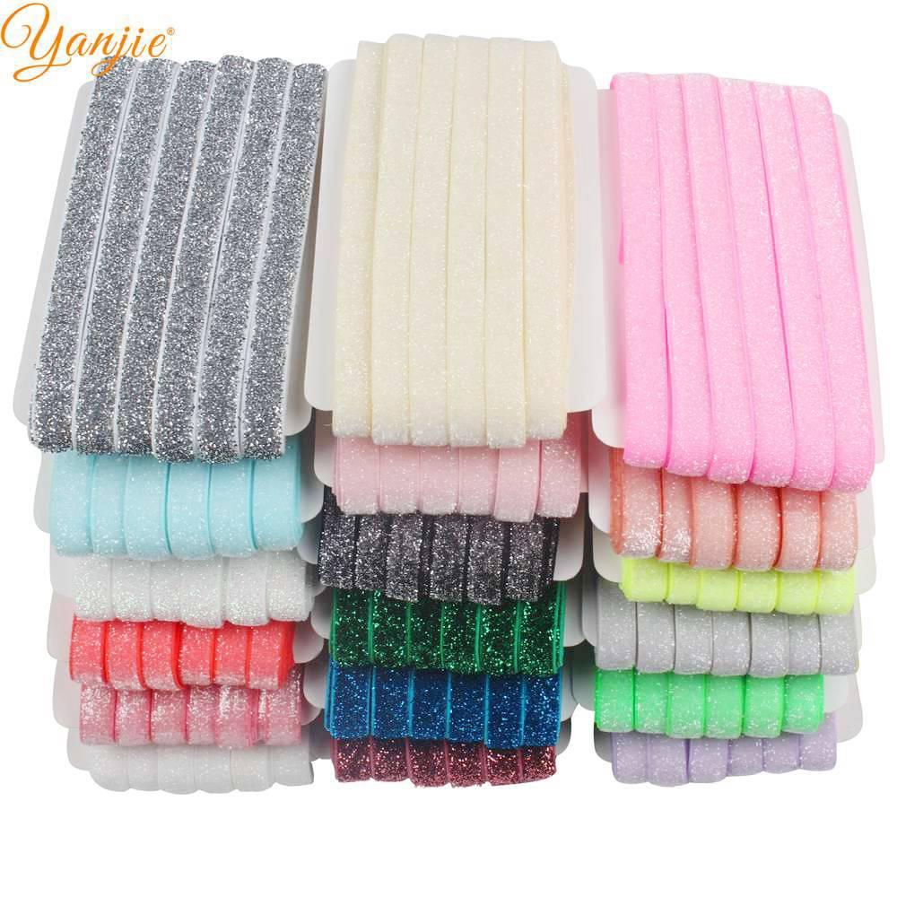 5 yard Grab Bag frosted GLITTER elastic FOE DIY baby headbands /& hair ties