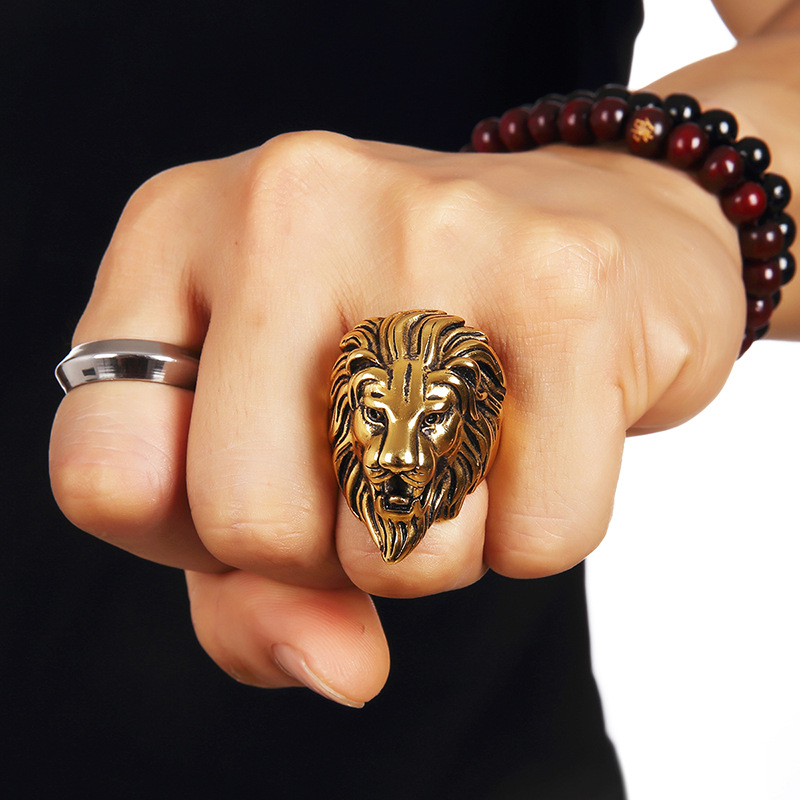 Fashion Gold Lion Stainless Steel Jewelry Men's Ring Exaggerated Domineering Lion Head Steel Ring Vintage Gothic Punk Rock Ring US Size 7-13