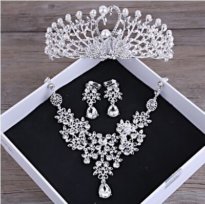 Gorgeous Wedding Tiara Simulated Pearls Jewelry Diadem Shiny Bridal Crown Big Queen Tiaras Rhinestone Crystal Hair jewelr (3)