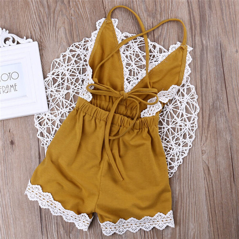 Summer Babys Girls Romper Newborn Infant Baby Kids Girls Cotton Solid Sleeveless Lace Jumpsuit Romper Outfits A84L30 (5)