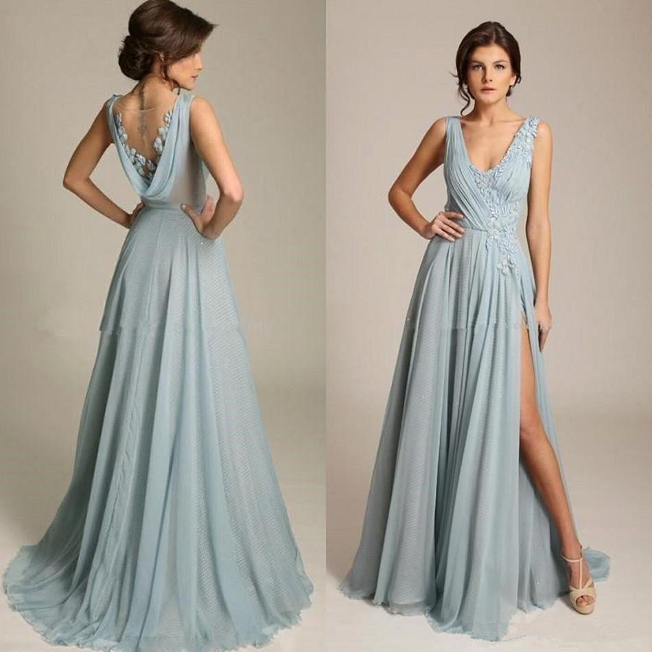 2020 new dusty blau lange brautjungfernkleider a-linie mit v-ausschnitt  appliqued plissee chiffon split hochzeit gast maid of honor kleider sheer
