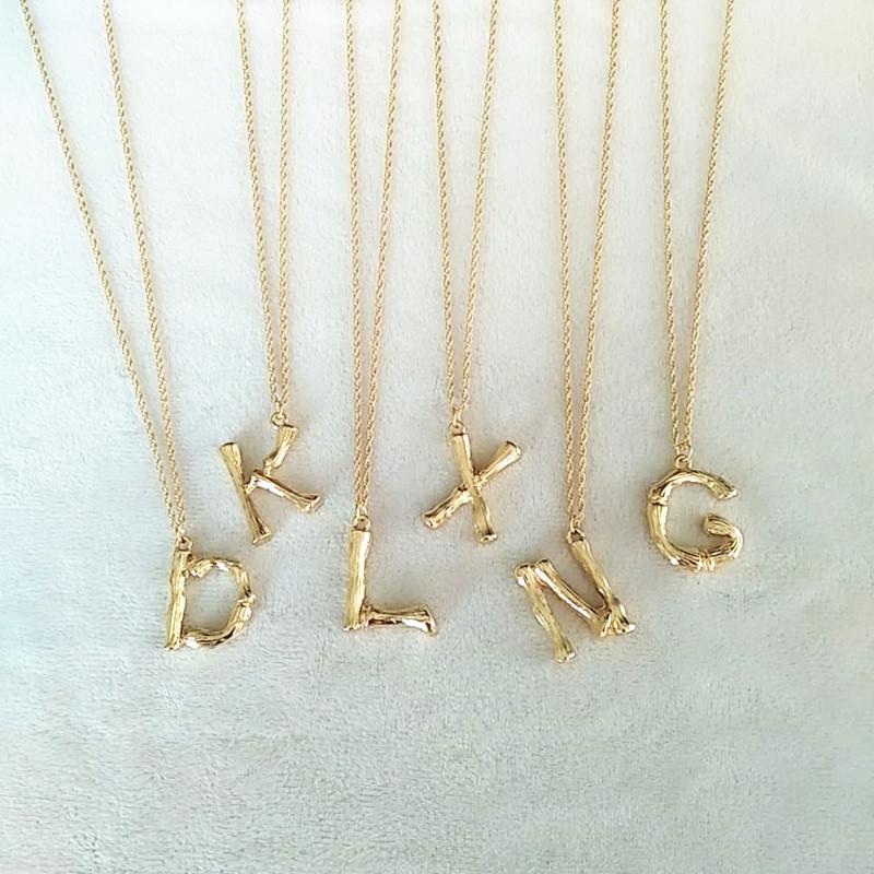 Oversize Bambou initiale alphabet lettre A-Z collier Plaqué or Unisexe Bijoux