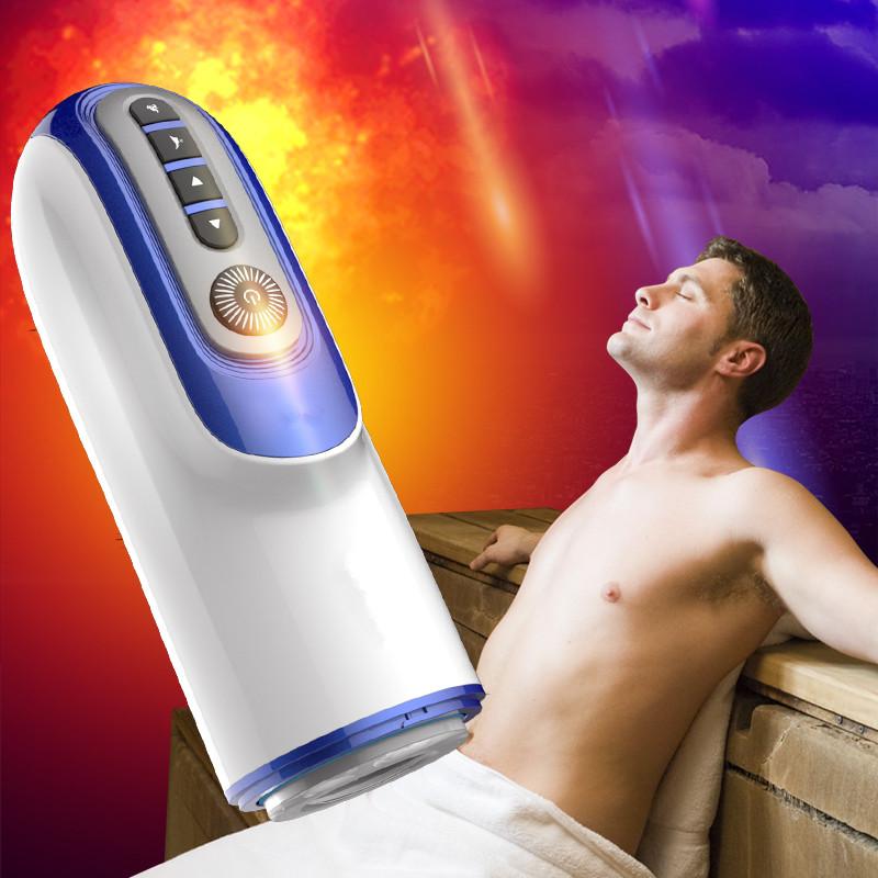 Automatic telescópico Male Masturbator Aquecimento Intelligent peniana Massager real de buceta bomba vibrador Sex Machine Sex Toys para o Homem