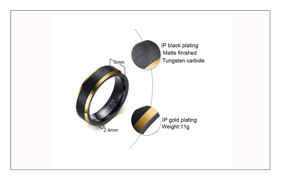 Meaeguet Black Gold Color Tungsten Carbide Engagement Rings Jewelry Men Matte Brushed Wedding Bands USA Size 8-12 (5)