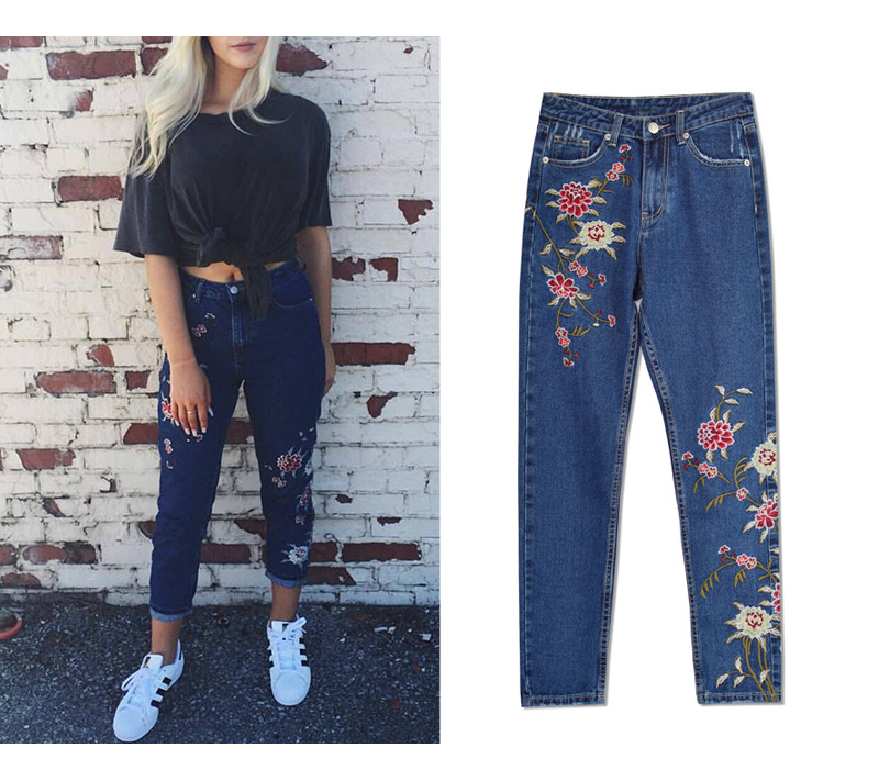2017 European and American women 3D stereo front and rear side embroidery high waist Slim cowboy nine feet pants fashion wild (10)