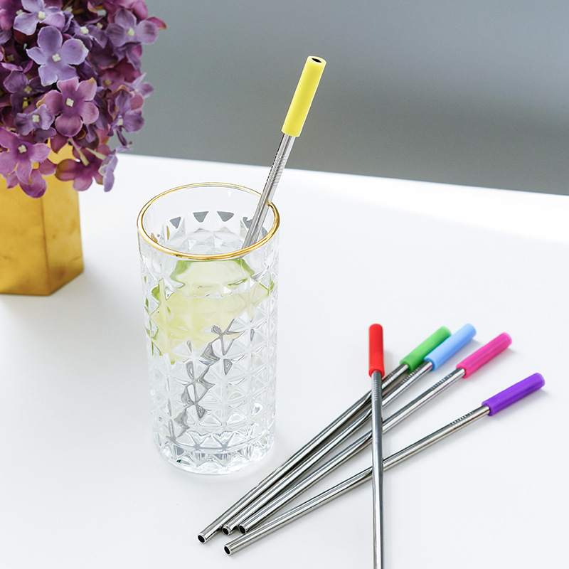 Hoomall Colorful Straw Silicone Sleeve With Reusable Drinking Straw Bar Supplies Teeth Shockproof Stainless Steel Straw C18112301