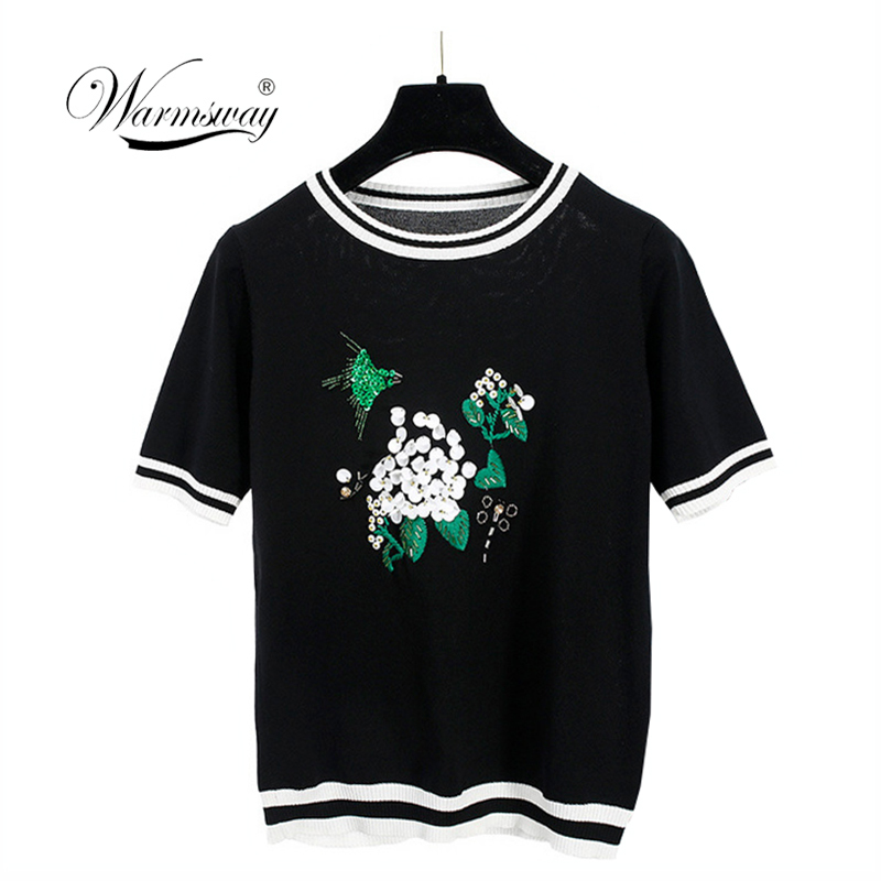 Europe Fashion Summer 2018 Floral Sequin Embroidery Knitted T shirt Women short sleeve Tops Ribbed Tee Striped Pullovers B-017
