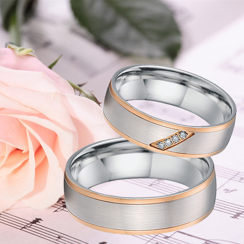 Custom Couple Rings Men Unique rose gold color titanium jewelry handmade bridal engagement wedding Rings for Women (2)