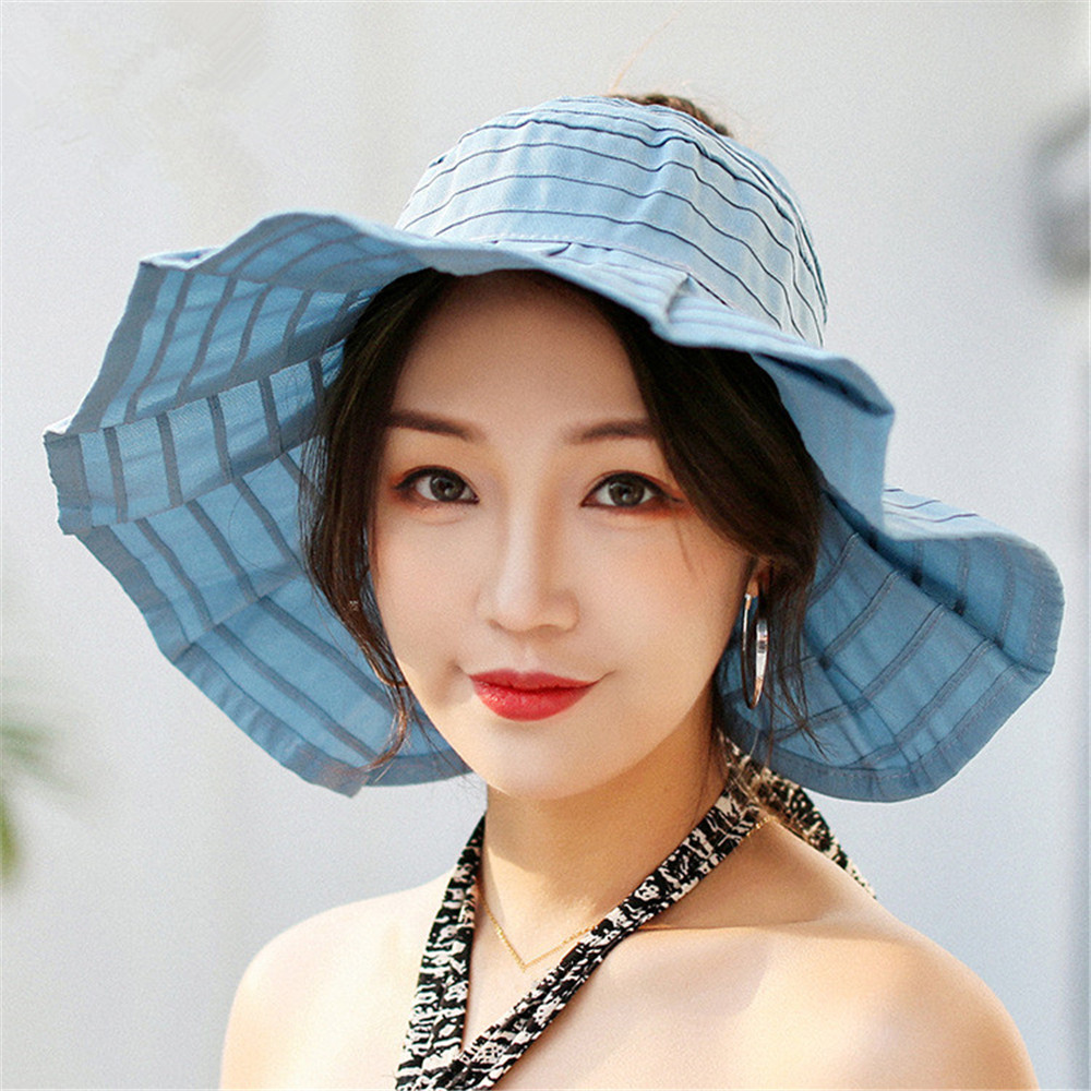 Summer Beach Hats for Woman Casual Open Top Breathable Hats Women's Spring Outdoor Wrinkle Large Brim Visor Sun Hats Beach Cool
