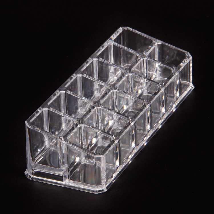 Wholesale-4Pcs-Acrylic-Clear-View-Cosmetics-Nail-Polish-Lipstick-Display-Tay-Holder-12-Compartments (1)