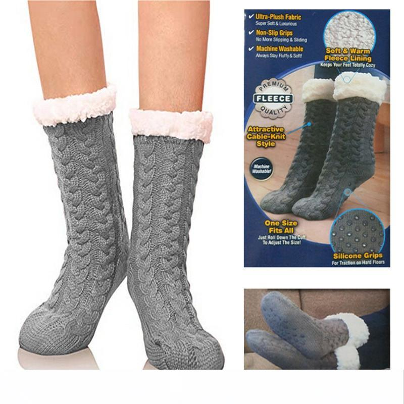 Solid Thick Faux Cashmere Thermal Boot Socks Walking Hiking Ski Winter Warm one