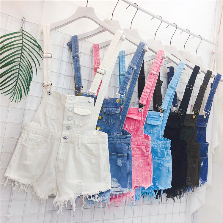 The new loose-fitting Korean version of the springsummer 2017 denim suspenders for female students shows a trend of slim, worsted fringed tassel shorts (2)