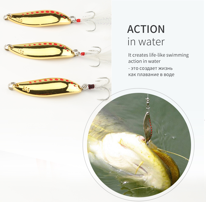 DONQL Metal Spoon Fishing Lure Hard Baits 10 15 20g Spinner Sequins Noise Paillette with Feather Treble Hook Fishing Tackle (8)