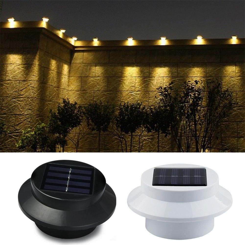 6x Lampe Solaire 3 DEL Gouttières extérieur Lampe de jardin murale éclairage de lumière solaire