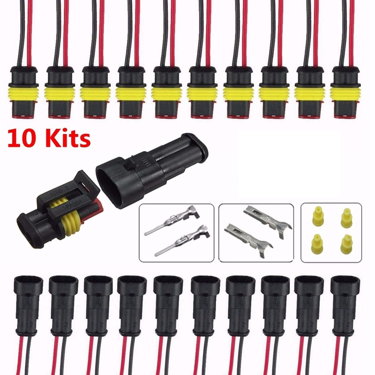 5 set Kit di prese elettriche impermeabili sigillate auto elettriche a 3 pin sigillate a 3 poli Connettore impermeabile