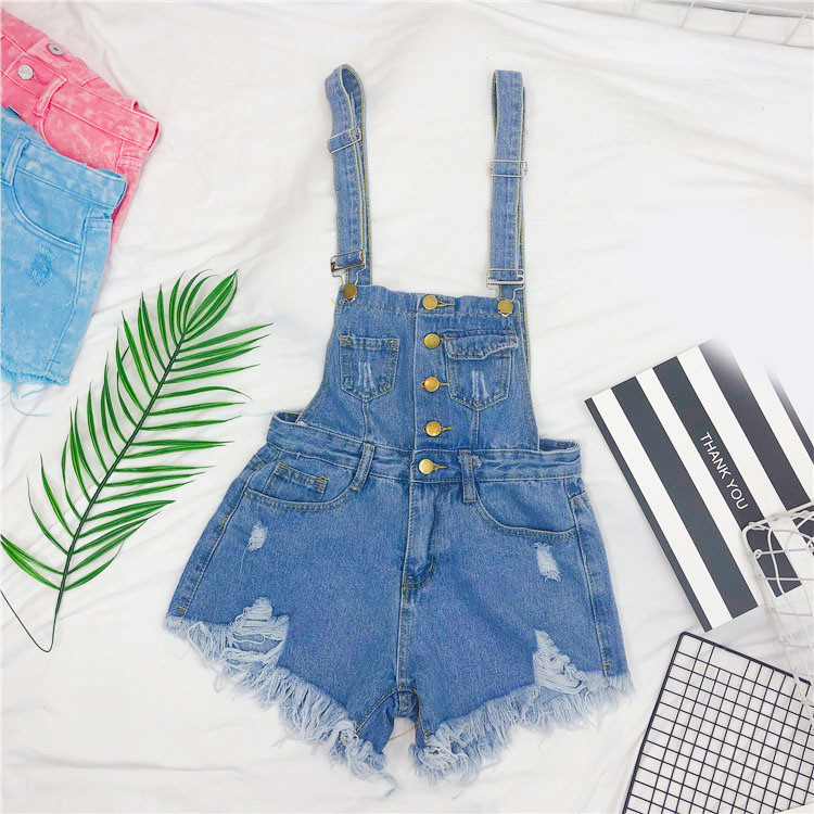 The new loose-fitting Korean version of the springsummer 2017 denim suspenders for female students shows a trend of slim, worsted fringed tassel shorts (9)
