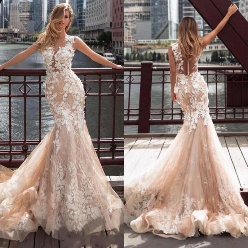 M Bridal Womens Illusion Long Sleeve Crew Neck Long Mermaid Bride Wedding Dress