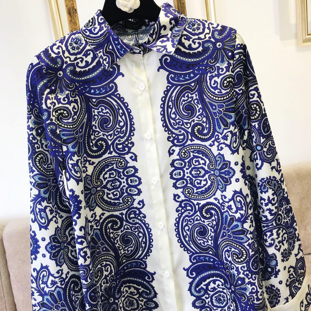 Nouveau Bleu imprimé Femmes Chemisier À Manches Longues Chemise Casual Blusa Tops Office Lady Comfort style