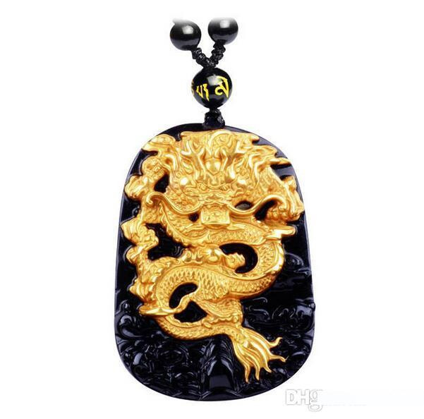Naturel Noir Obsidienne Collier Pendentif Dragon Chinois Lucky Amulet Talisman