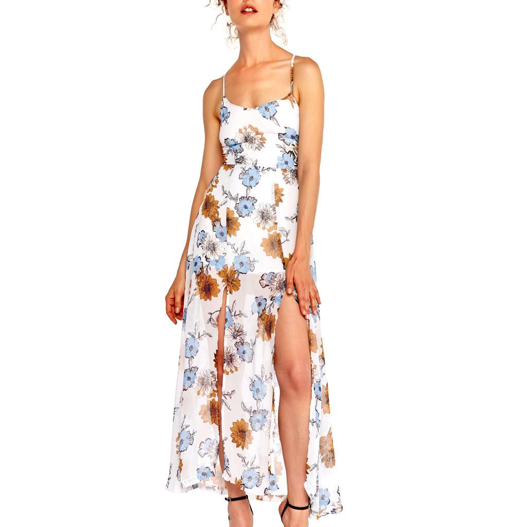 Rétro Femmes tropical Spaghetti Strap Imprimé Robe Longue Fête Découpe de robes de mar