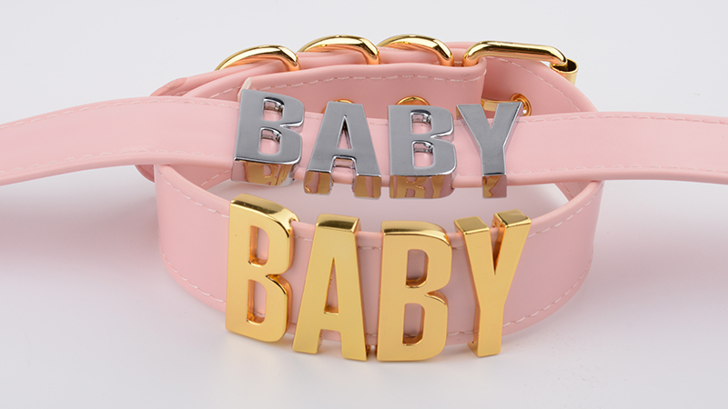 Personalized Charm Kawaii Gold Metal Baby Letters Choker Necklace Women Girl PU Pink Leather Punk Harajuku Collar Word Necklace 10