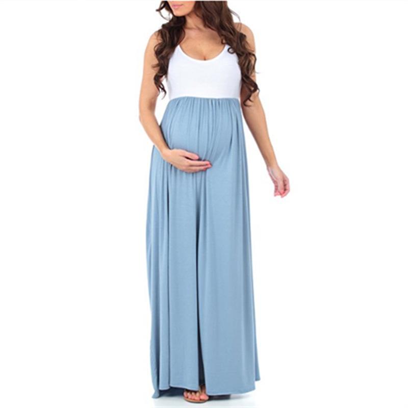 Teenster Одежда для беременных Одежда для беременных Платье для беременных без рукавов Платье Лоскутное Большой маятник Gravida Одежда Y190522
