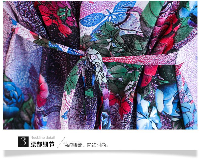 Dresses Xl 5Xl Women Clothes Print Animal Print Tunic Long Cotton O Neck Dress Sleeves Mid Calf Plus Size Loose