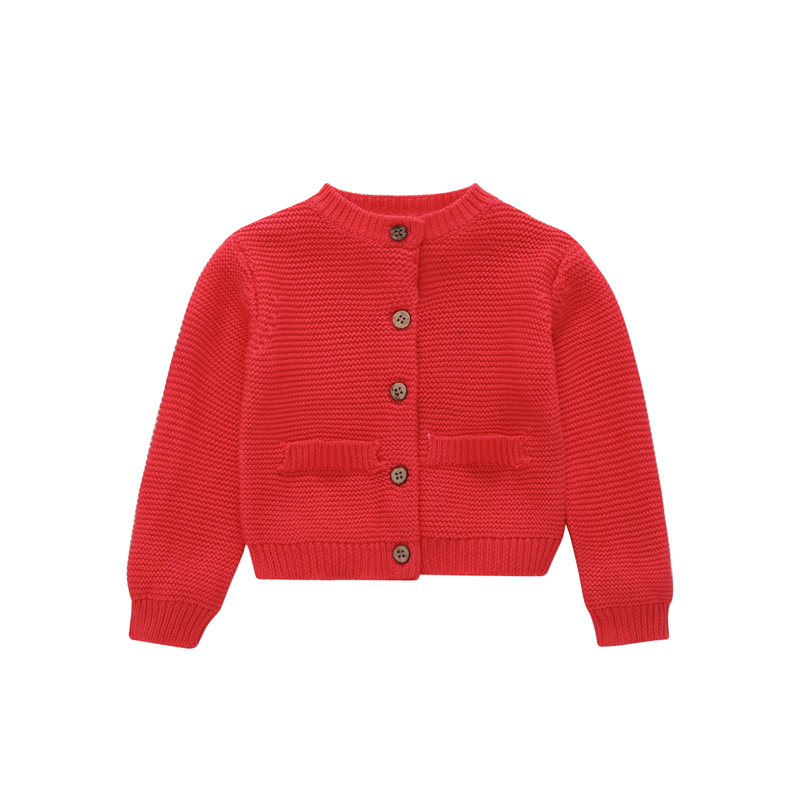 2018 autumn winter baby clothes o-neck long sleeve knit sweater cardigan pocket red pink little boy girl Outerwear coat tops