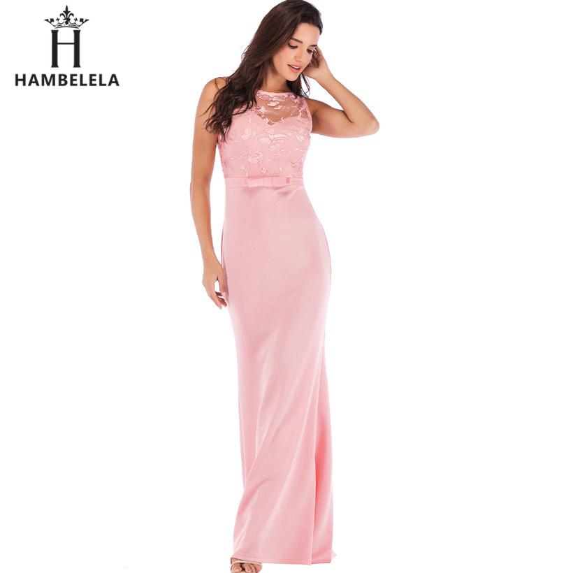 HAMBELELA Long Maxi Backless 2019 Women Dress Summer Evening Party Dresses Sexy O-Neck Elegant Floral Lace Dress Vestidos Longo (1)