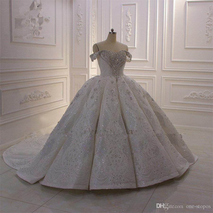 Gerçek Resimler Balo Düğün Dresse Beyaz Off Omuz Lüks Kristal Boncuklu Suudi Arabistan, Dubai Gelin Kıyafeti Plus Size