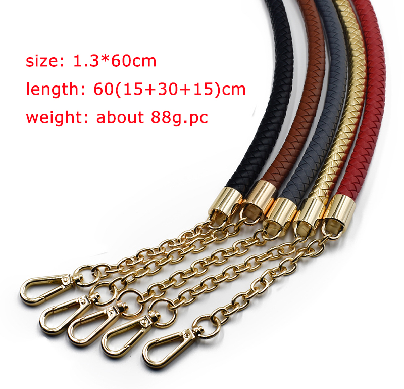 60cm PU+Metal Handle Strap Chain for Weave Bag Handbag Accessories