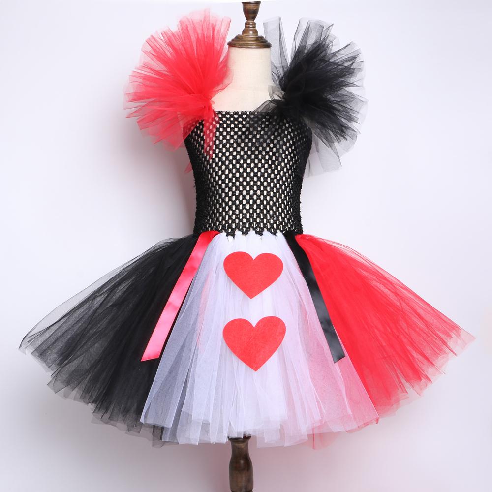 Rot schwarz weiß Königin des Herzens Tutu Kleid Alice im Wunderland Fancy Party Kostüme für Mädchen Kinder Halloween Geburtstag Kleid 2-12y MX190724