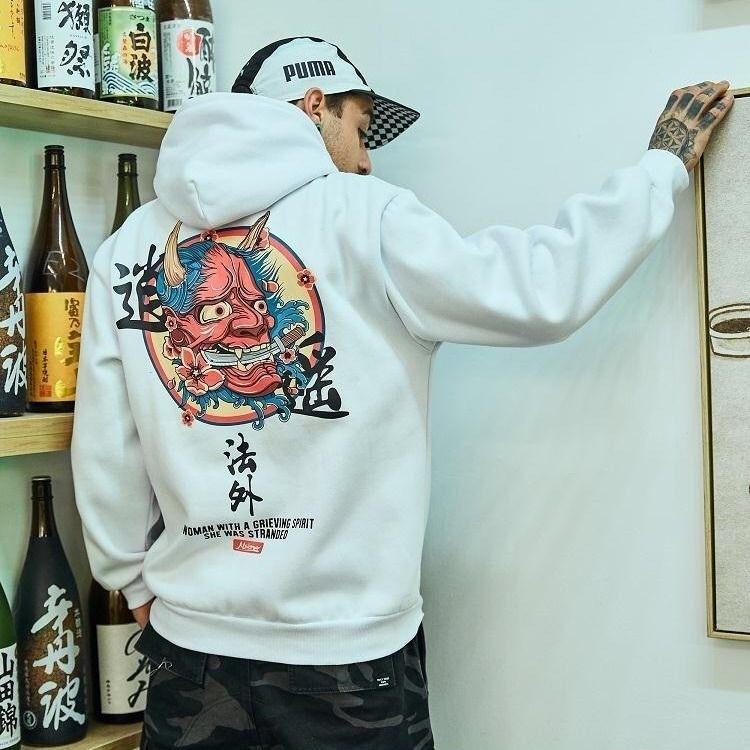 Fashion clothing mens funny hip hop rap Japanese Printed Fleece Hoodies Winter Japan Style Casual Sweatshirts Streetwear