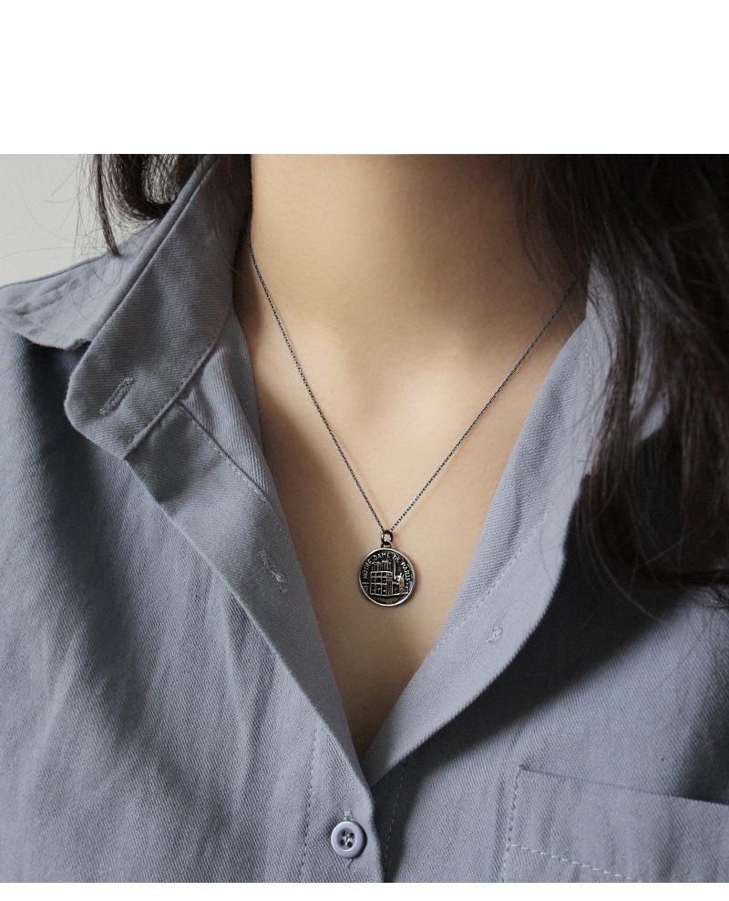 Ganci Per Appendere Collane la collana d'argento dell'argento s925 dei ganci della moneta di notre-dame  de paris va con la collana delle donne dei gioielli della catena