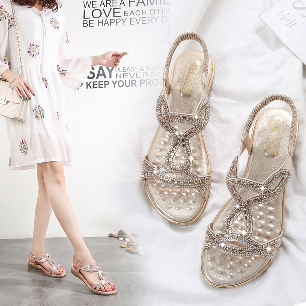 SAGACE Bohemian Sandals Women Bohemian Crystal Female Shoes Flat Beach Shoes For Ladies Sandal Casual Women Sandals Summer LY191129