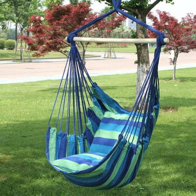 Outdoor Garden Hanging Bed Chair Seat With 2 Pillows Adults Kids Leisure Hammock Swing Chairs Q190603