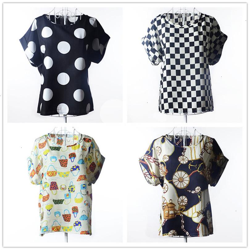 Summer Style Big Dots Women Blouse 19 Type Large Size Woman Printing Blouse Shirt Short-sleeved Chiffon Blusas Femininas Roupas (6)