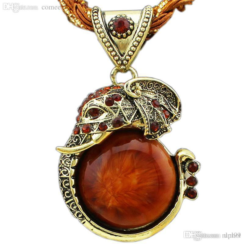 Bronce vintage esmalte cristal elefante collar