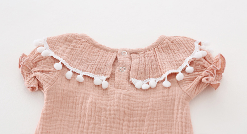 Cute Newborn Baby Girl Romper 2017 Summer short sleeve Princess fur ball Sunsuit One Pieces Tassel Clothes free drop shipping (15)